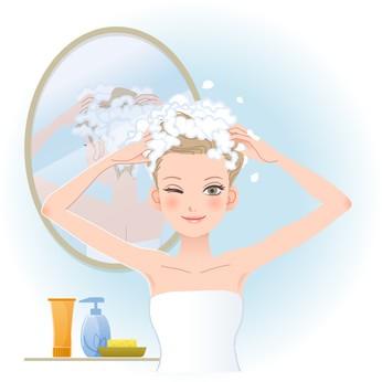 洗髪する女性のイラスト