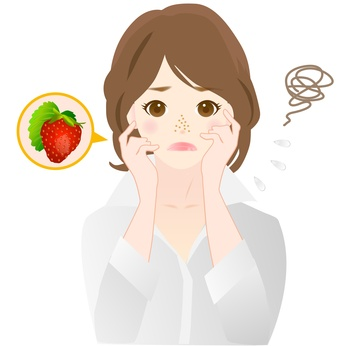 いちご鼻に悩む女性のイラスト