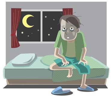 睡眠不足の男性のイラスト