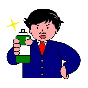 育毛剤を持つ男性のイラスト