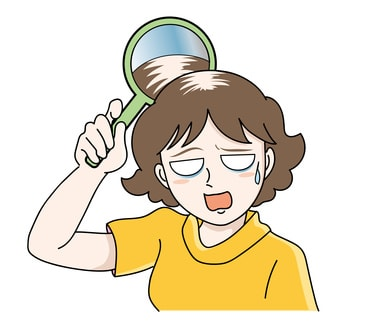 女性が自分の薄毛にぞっとしているイラスト