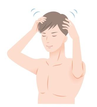 頭皮マッサージをする男性のイラスト